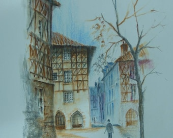 LIMOGES Allois, watercolor pencil on canson Street