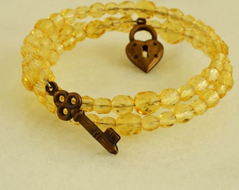 Manschette Armband, gelbe Schmuck Bettelarmband