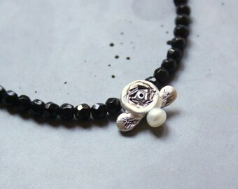 Silver Rose Necklace with Black Onyx Semiprecious Gemstones and Mother of Pearl