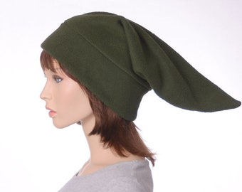Dark Olive Drab Green Pointed Elf Hat Stocking Cap Ogre Dwarf Cap Long Pointed Beanie