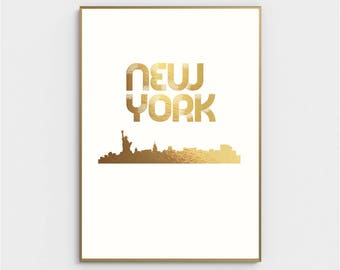 New York City Gold Foil Print Modern Poster