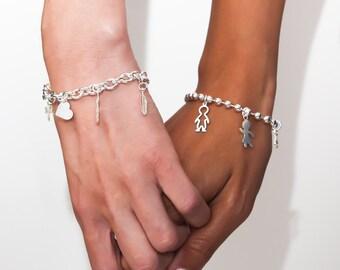 Charm Bracelet, Silver Custom Bracelet, Gift for Mom, Customized Silver Bracelet, Personalized Bracelet, Personalized Jewelry Christmas Gift