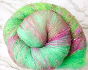 Fairy Blend Batt - sprout and seafoam ombré - fiber art batt to spin or felt - Merino Wool with silk and sparkle - 2 oz