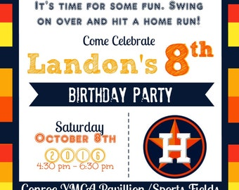 Houston Astros Baseball Birthday Invitation & Matching Thank You Card 4x6 or 5x7