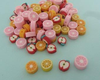 Set of 100 fruit beads in polymer clay - Lemon, apple, orange and pink citrus - Diameter: 10mm