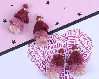 3 tassels / Multi-Pompons in shades of pink 3.3 cm