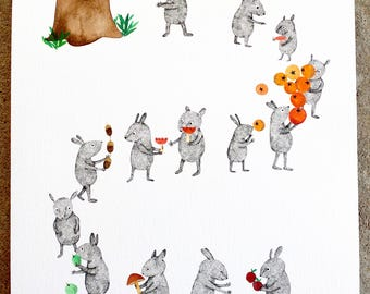 Getting ready for winter - Limited edition A4 size Giclee art print, signed and numbered by Nana Sakata