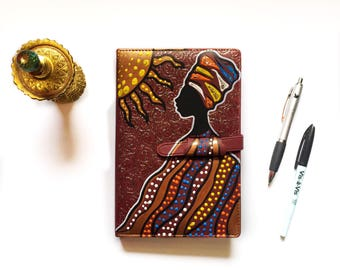ODARA CREATIONS Journal, hand painted, One of a kind. 6X8 Around 298 pages front & back--
