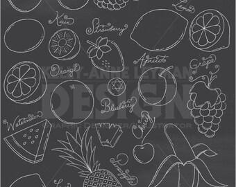 Chalkboard Doodle Fruit Clip Art Set, Hand drawn Food Clipart, Commercial Use, Instant Download, Digital Download Art, Vector Graphics