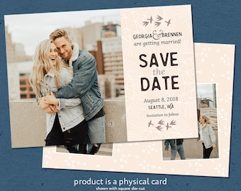 Printed Photo Save the Date Cards, Editable Text, Handlettering, Premium Cover Stock, Envelopes Included, Bird Save the Date