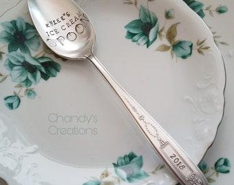 Ice-Cream-Spoon-Stamped-Personalized-Gift-Engraved-Custom-Vintage-Silverware-His-Hers-Dad's-Custom-Server-Teaspoon-Tablespoon-Dessert-Silver