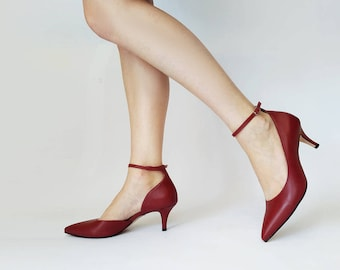 Red heels with ankle strap, Heels for women, Red wine heels, Red wine shoes, Low heel shoes, Leather heels, Red wine evening shoes, Comfy