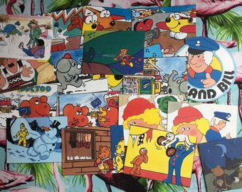 25 x vintage book cutouts of 1980s children's characters. Superted, Morph etc. Scrapbooking, card making, collage, junk journal, smash book