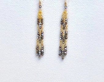 Gold filled Pyrite Duster Earrings