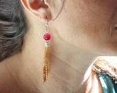Intense pink agate earrin...