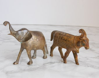 Brass Elephant and Goat Statues - Rusty Brass Animal Figurines - Small Vintage Rusty Brass Animal Statues