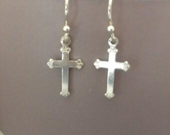 Sterling Silver Cross Earrings, 925 Silver Cross Earrings, Crucifix Earrings, Jewellery Gift for Her, Christian Jewelry, Cross Earrings
