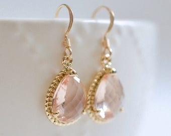 ON SALE Bridesmaid Jewelry Set of 6 Peach Champagne Teardrop Wedding Earrings in Gold