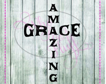 Amazing Grace in shape of cross SVG, DIY jpg png files, cutting file, gift religious vector