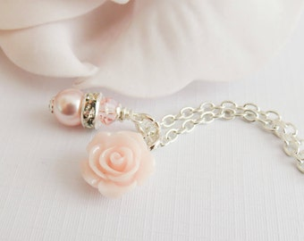 Pale pink flower necklace, girls pearl necklace, flower girl jewelry, light pink rose necklace, wedding jewelry