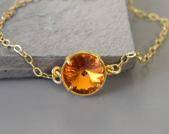 November Birthstone Jewelry, Stackable Bracelet, Swarovski Topaz Bracelet Gold, Mothers Day from Daughter, Grandma Bracelet, Minimalist