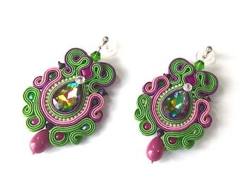Multicolor Funky Earrings, Soutache Earrings, Statement Jewelery, Fashionable Long Earrings, Green Violet Pink Earrings, Multicolor