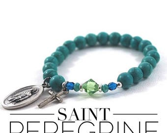 Saint Peregrine turquoise howlite bracelet. St Peregrine prayer beads, patron saint of cancer survivors
