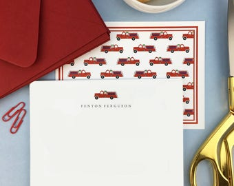 Firetruck Stationery for boys, Boys Personalized Stationery, Firetruck Stationary, Boys stationery, Firetruck thank you cards, Set of 10