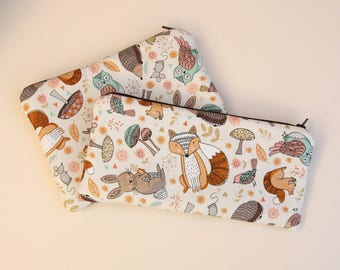 Cute Forest Animals Cosmetics / Make up Bag or Pencil Case