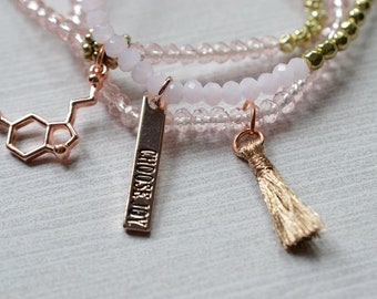 Biolojewelry - Choose Joy Serotonin Nurotransmitter Molecule and Tassel Beaded Bracelet