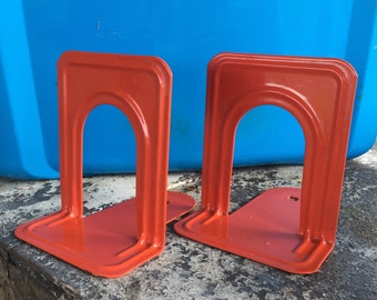 Set of Orange Vintage Metal Highsmith and Co School Library Bookends - Vintage Bookends
