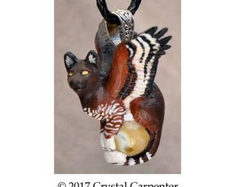 Eagle Wings Feline - Collectible Hand Painted Sky Cat Necklace Pendant Ornament Sculpture