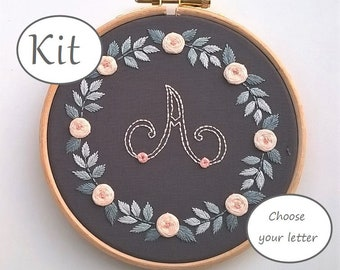 monogram embroidery kit - hand embroidery kit - embroidered nursery decor - floral wreath - letter needlework kit - initial pattern