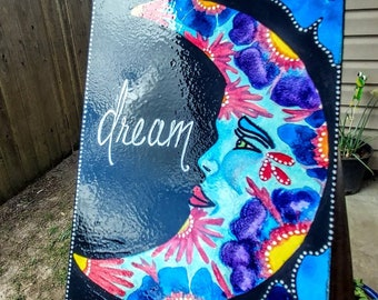 """Dream 5""""×7"""" Watercolor and acrylic canvas painting"""