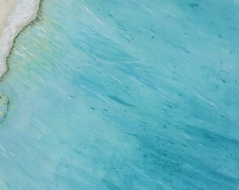 Tropical Beach Art Print / Bora Bora Aerial Seascape / Ocean Prints from Original Oil Painting
