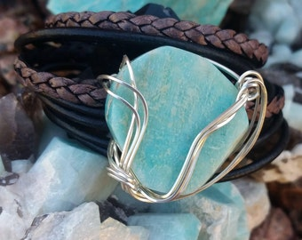 Turquoise leather cuff bracelet, Amazonite bracelet, Silver Turquoise bracelet, Grey leather bracelet, Colorado Jewelry, Turquoise leather