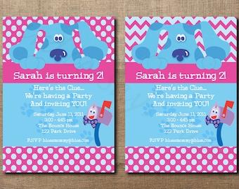 Custom Printable Blues Clues Birthday Invitation