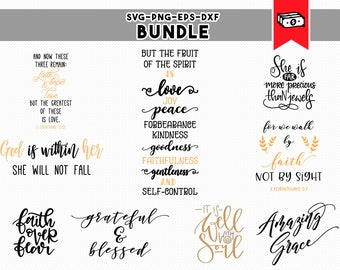 christian svg bundle, bible verse svg, religious clipart, faith believe blessed, svg dxf, eps, png, iron on cricut downloads, commercial use