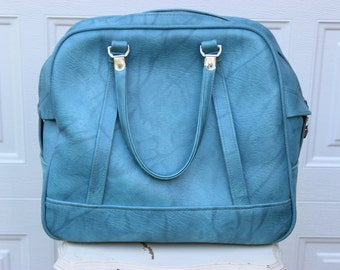 Vintage American Tourister Luggage Carry on Bag Blue Marble