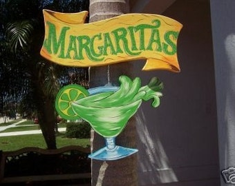 Tropical Margaritas Banner Wood Sign