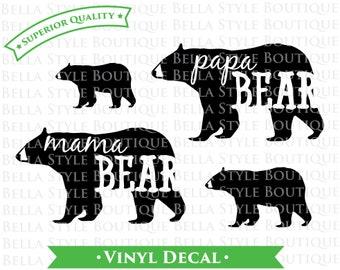 Family Mama Papa Baby Bear Woodland VINYL DECAL