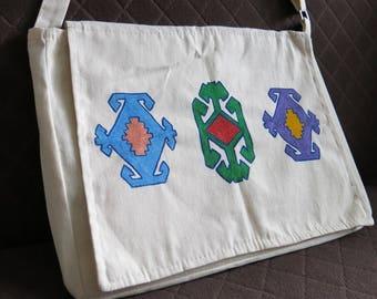 Hand painted messenger bag, shoulder bag