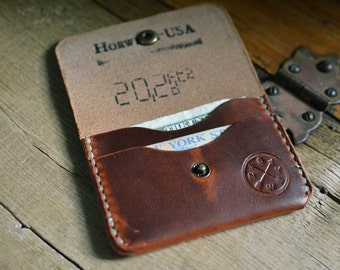 Horween Button Wallet W/ Antique Brass Snap English Tan