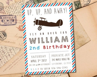 Vintage Airplane Kids Birthday 5x7 Invitation - Up Up and Away - Digital File