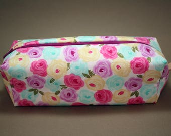 Boxy Makeup Bag- Watercolor Floral Print with Metallic Accents- Pencil Pouch
