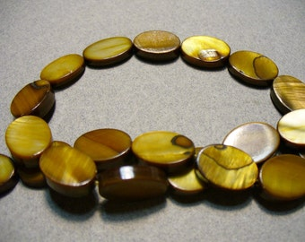 Mother of Pearl Beads  Brown Oval14x10mm