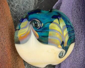 """Handmade Lampwork Beads """"Solar Flare"""" SRA Glass Focal Bead Lentil ~ OOAK Textural Organic Silver Glass Lustre ~ Warm Neutrals"""