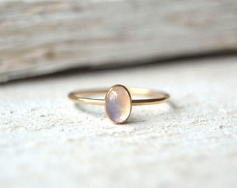 14k SOLID Gold Oval Moonstone Ring- Yellow Gold Moonstone Ring, 14k Oval Ring, Oval Moonstone Ring, Dainty Oval Ring, Oval Gold Ring