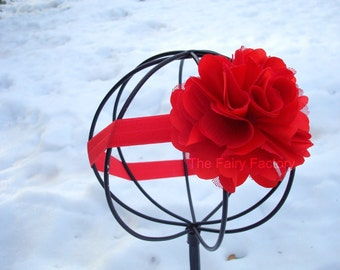 Red Satin and Tulle Flower Puff Stretchy Headband or Hair Clip, Baby Headband, Newborn Infant Toddler Child Girls Headband