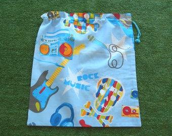 Large drawstring library bag, skulls rock n roll guitar bag, toy bag, sheet bag